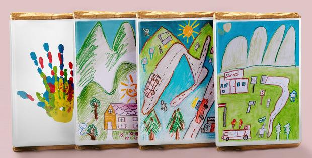 Die Schokoladen-Hüllen wurden von Kindern des Ederhofes gestaltet.