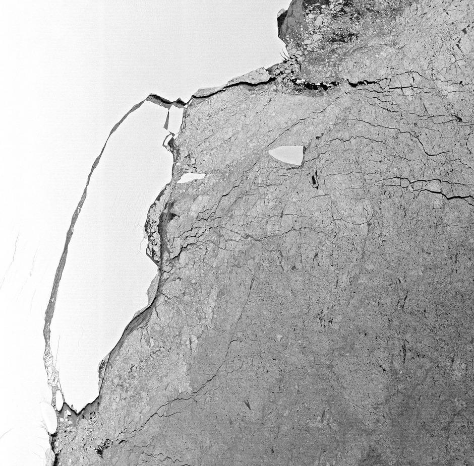 Auf diesem Satelliten-Foto vom 22. Juli hatte sich der 175km breite Eisberg noch nicht vom Larsen-C-Schelfeis gelöst.