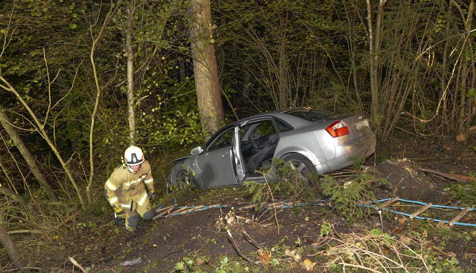 Das Auto wurde von Bäumen gestoppt.