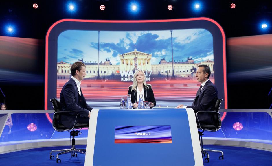 VP-Bundesparteiobmann Sebastian Kurz, Moderatorin Claudia Reiterer und Bundeskanzler Christian Kern.