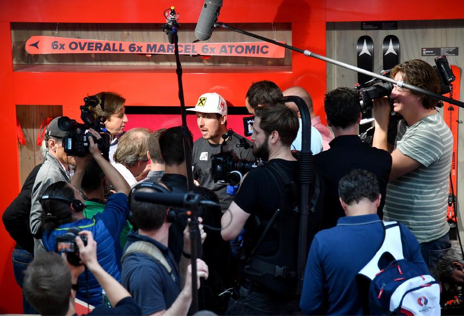 Marcel Hirscher war bei den Journalisten heiß begehrt.