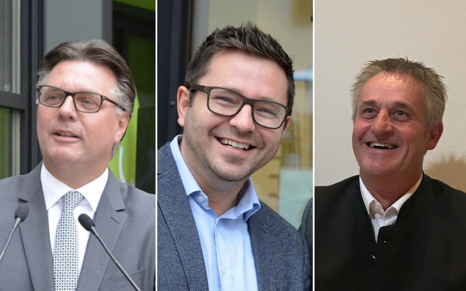 Klaus Gasteiger (l.), Alexander Maier (Mitte) und Hansjörg Gwiggner (r.) kämpfen bei der Bürgermeister- und Gemeinderatswahl in Kaltenbach am 12. November um Stimmen.