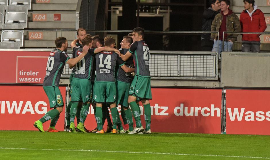 Schwarzgrüner Jubel im Tivoli-Stadion: Wacker bezwang die WSG Wattens mit 1:0.