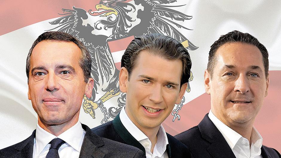 Christian Kern will Kanzler bleiben, Sebastian Kurz und Heinz-Christian Strache möchten Kanzler werden (v.l.)