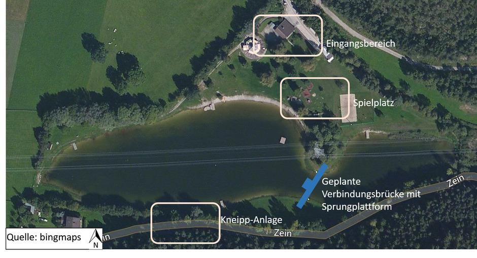 Die Attraktivierung des Badesees Mieming steht mit Erlebnisspielplatz, Abenteuerbrücke und Kneippanlage im Groben auf drei Säulen.