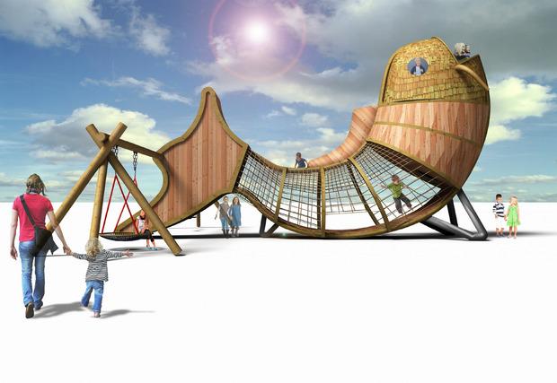 Ein Alleinstellungsmerkmal werde der überdimensionale Karpfen darstellen, der für die Kinder multifunktionell sein wird.