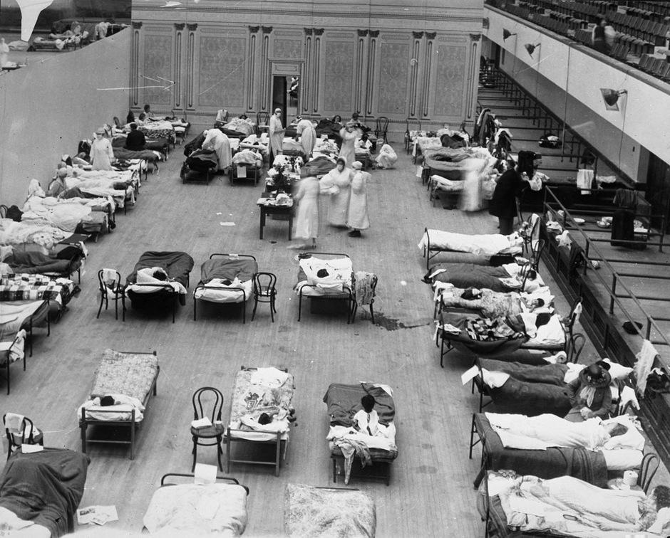 Ein behelfsmäßiges Krankenhaus für Grippeerkrankte in Oakland, Kalifornien.