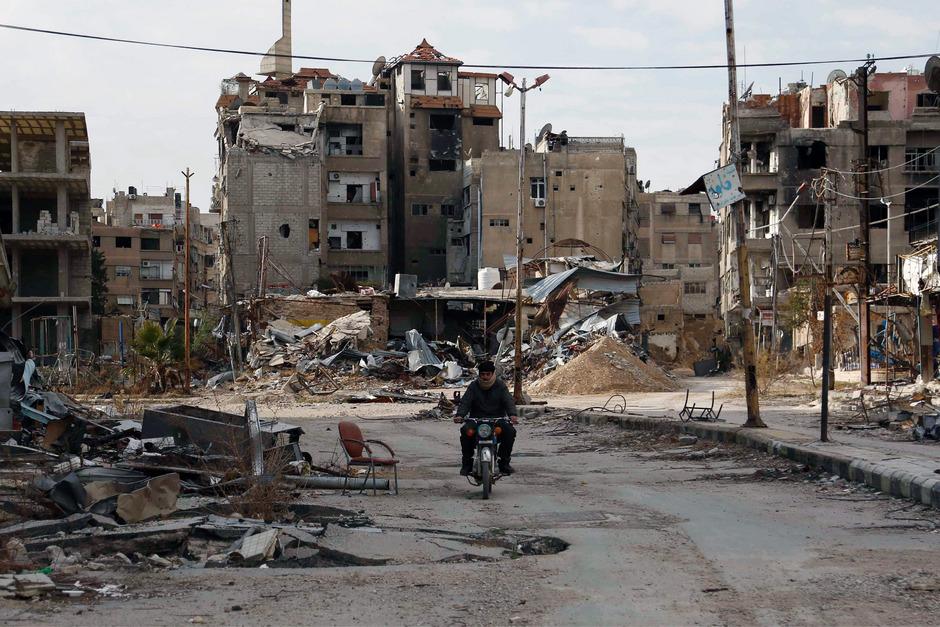 Harasta östlich von Damaskus ist vollkommen zerstört.