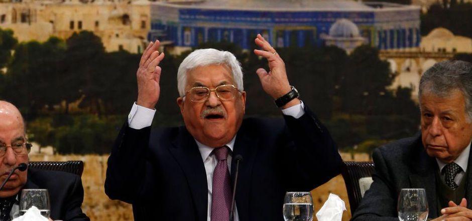 """""""Ohrfeige des Jahrhunderts"""": Palästinenserpräsident Mahmud Abbas bei der Sitzung des PLO-Zentralkomitees."""