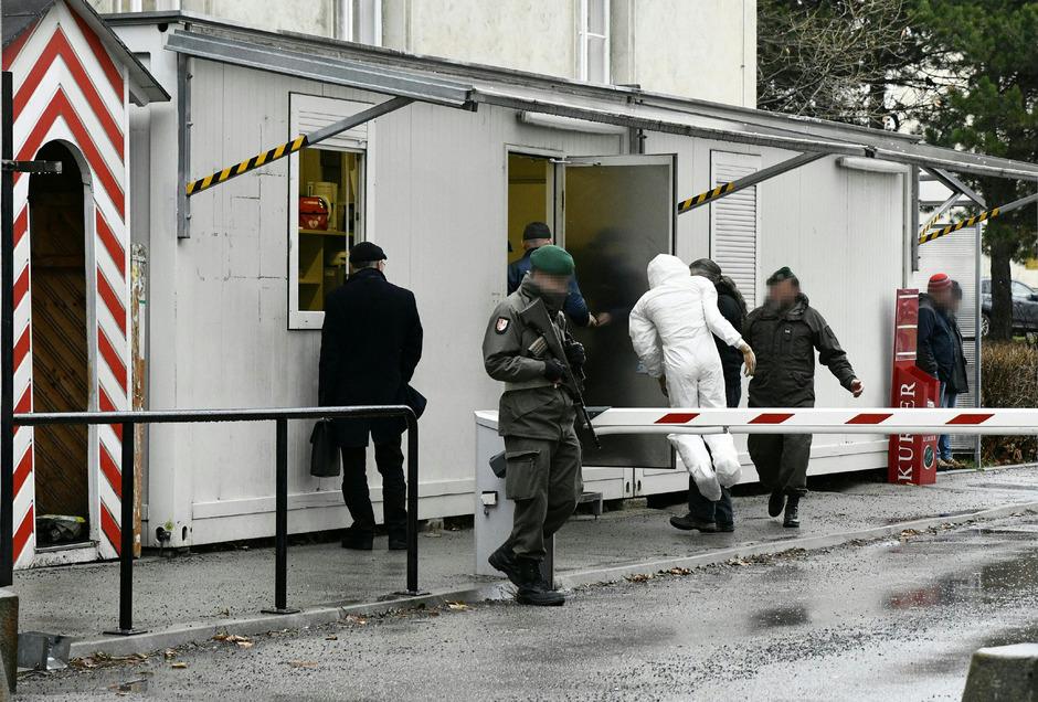 Tatortrekonstruktion im Fall des Rekruten, der am 9. Oktober 2017 in einer Kaserne in Wien-Leopoldstadt getötet wurde.
