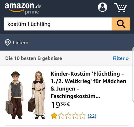 """Nach heftiger Kritik wurde das Wort """"Flüchtling"""" aus der Bezeichnung des Kostüms gestrichen."""