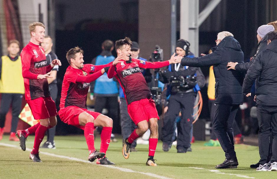 Admiras Marco Hausjell bejubelte seinen Treffer zum 1:0.