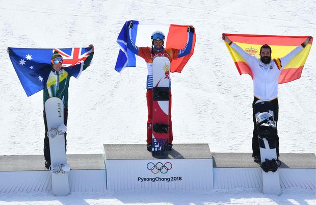 Die Medaillengewinner: Jarryd Hughes, Pierre Vaultier und Regino Hernandez (v.l.).