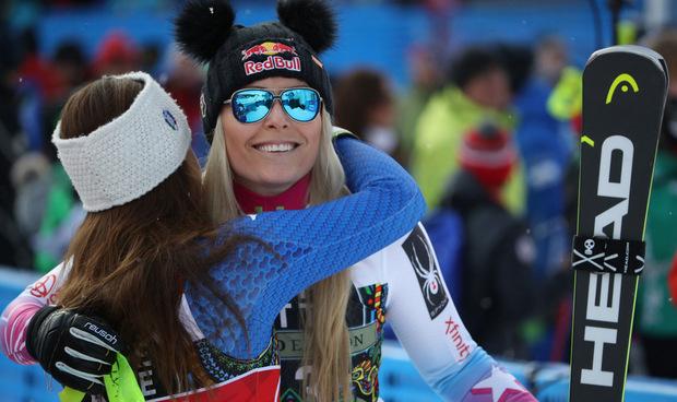 Lindsey Vonn gratulierte fair. Die US-Amerikanerin durfte sich immerhin über ihren 82. Weltcupsieg freuen.