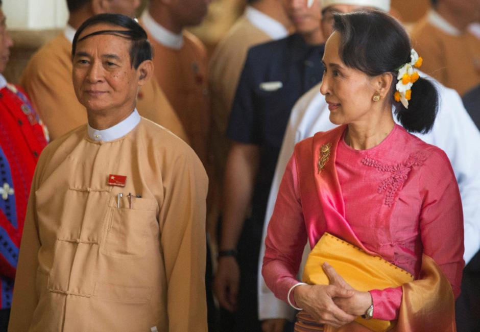 Aung San Suu Kyi und  Win Myint.