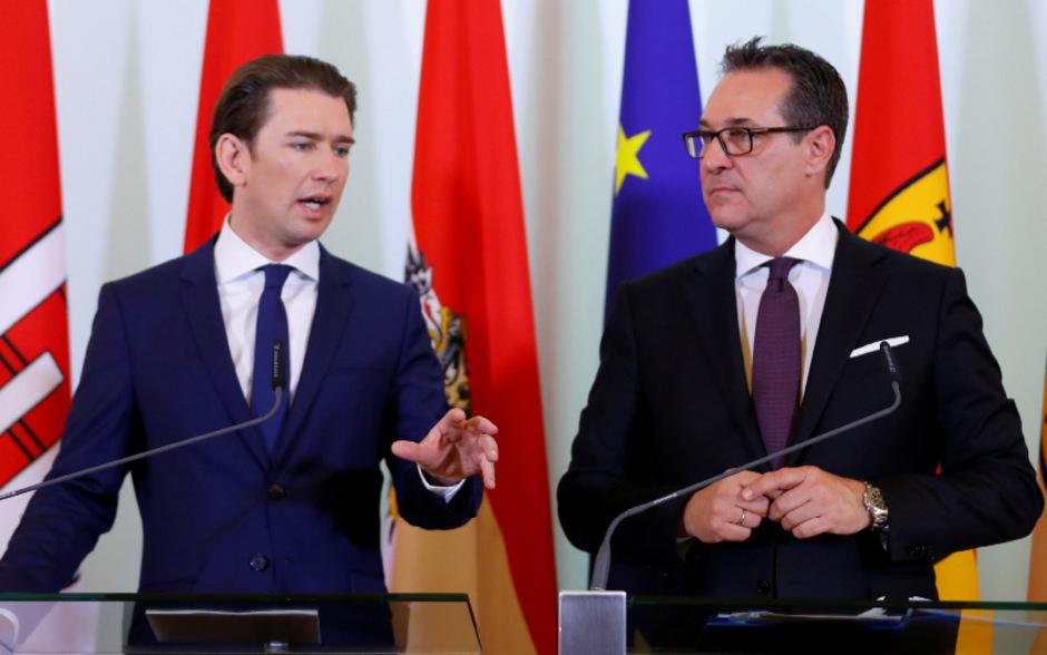 Kanzler Kurz (l.) und Vizekanzler Strache nach dem Ministerrat.