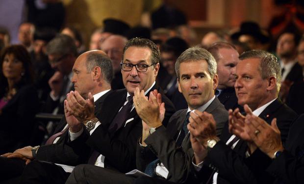 Nationalratspräsident Wolfgang Sobotka (ÖVP), Vizekanzler Heinz-Christian Strache (FPÖ), Finanzminister Hartwig Löger (ÖVP) und Verteidigungsminister Mario Kunasek (FPÖ) während der Gedenkveranstaltung am Freitag.