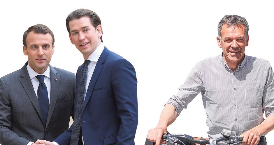 Die Person als Marke: Emmanuel Macron (l.) gründete eine Bewegung und reüssierte, Sebastian Kurz führte die nachhinkende Partei zum Wahlsieg und Georg Willi setzte sich trotz schwächelnder Partei als Bürgermeister durch. Montage: TT