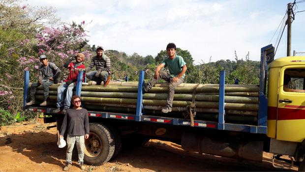 Mit Helfern aus dem Dorf wird Holz gesammelt.