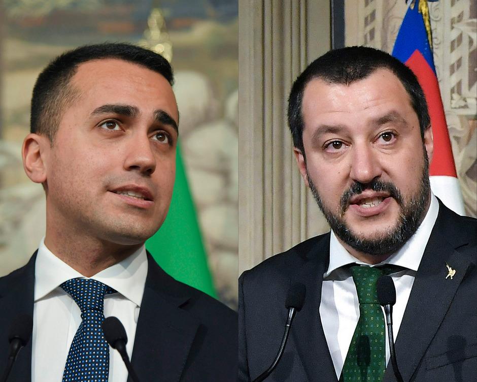 Fünf Sterne-Chef Luigi Di Maio (li.) und Innenminister und Lega-Chef Matteo Salvini.