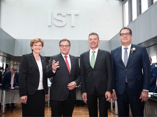 Vizebürgermeisterin Christine Oppitz Plörer, LH Günther Platter, Bürgermeister Georg Willi und Vizebürgermeister Franz Gruber.
