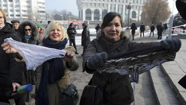 Auch Kasachstan ist von dem Gesetz betroffen, dort gingen Frauen 2014 auf die Straße.