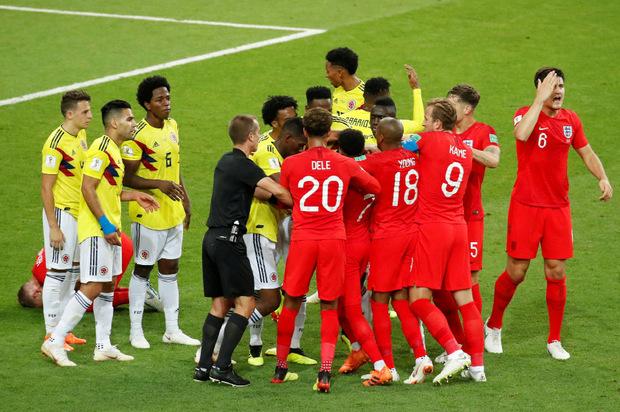 Hektik bestimmte das Spiel zwischen England und Kolumbien.