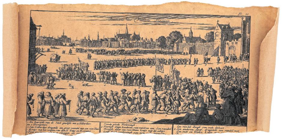 Diese Darstellung zeigt Mitglieder des Trinitarierordens, die freigekaufte Sklaven durch eine Stadt führen, um Spenden für weitere Freikäufe zu sammeln.