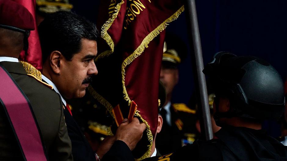 Der Präsident Venezuelas Nicolás Maduro während der Kungebung.