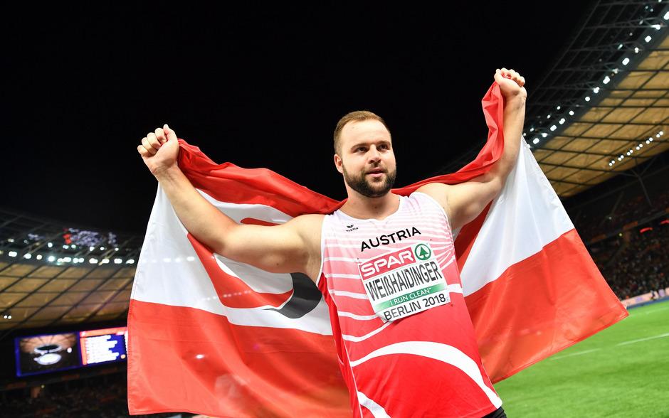 Diskuswerfer Lukas Weißhaidinger jubelte bei der EM in Berlin über Bronze.