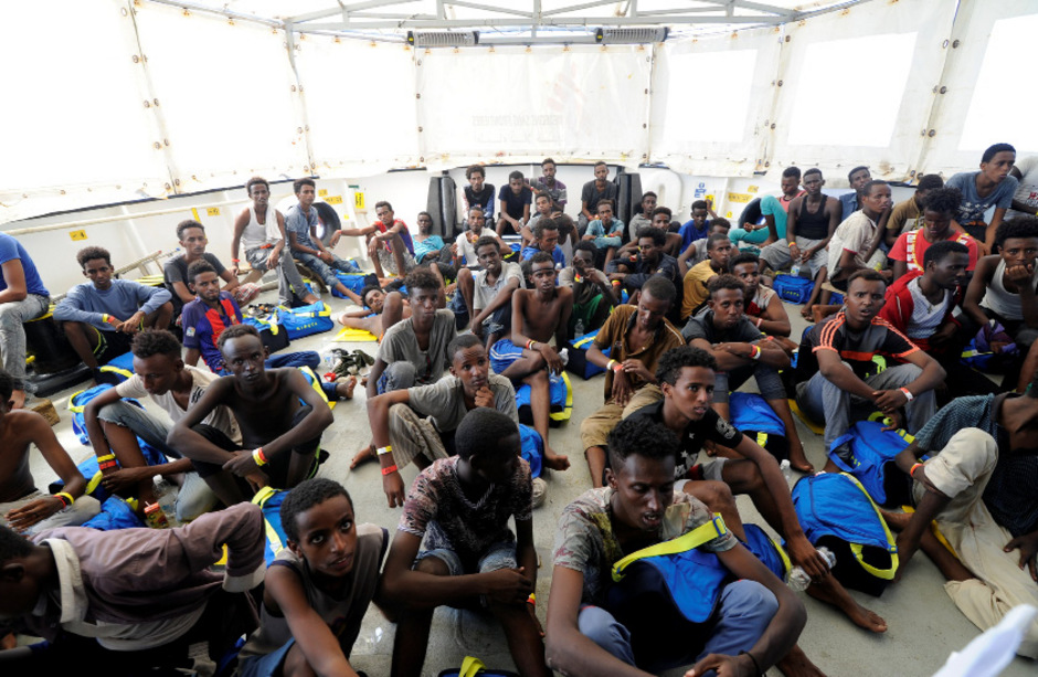 "Gerettete Flüchtlinge auf der ""Aquarius""."