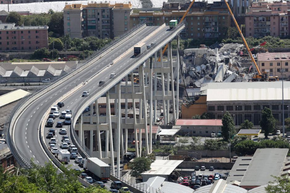 Die kollabierte Brücke am 16. August.
