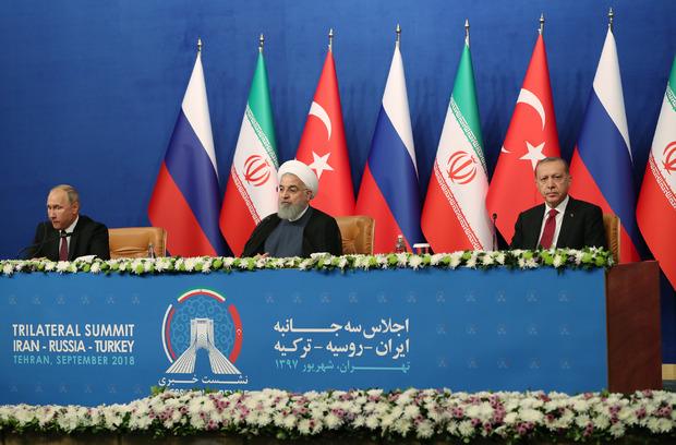 Russlands Präsident Wladimir Putin, der iranische Präsident Hassan Rouhani und der türkische Präsident Recep Tayyip Erdogan.