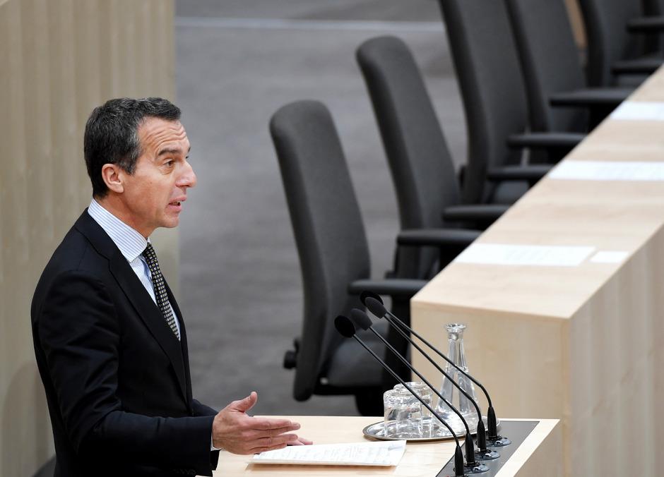 Österreichs Ex-Bundeskanzler Christian Kern (SPÖ) im Nationalrat.