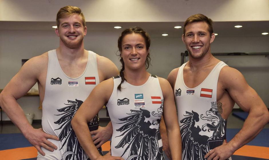 Daniel Gastl, Martina Kuenz und Michael Wagner (v.?l.) fahren mit großen Erwartungen zur Ringer-WM.