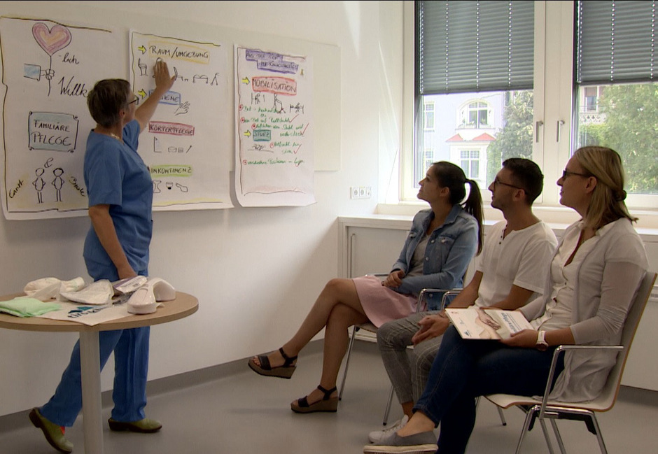 Erklärungen an der Tafel, praktische Hilfsmittel auf dem Tisch. Die Pflegeschulung erlaubt es den Trainern, auf alle Teilnehmer einzugehen.