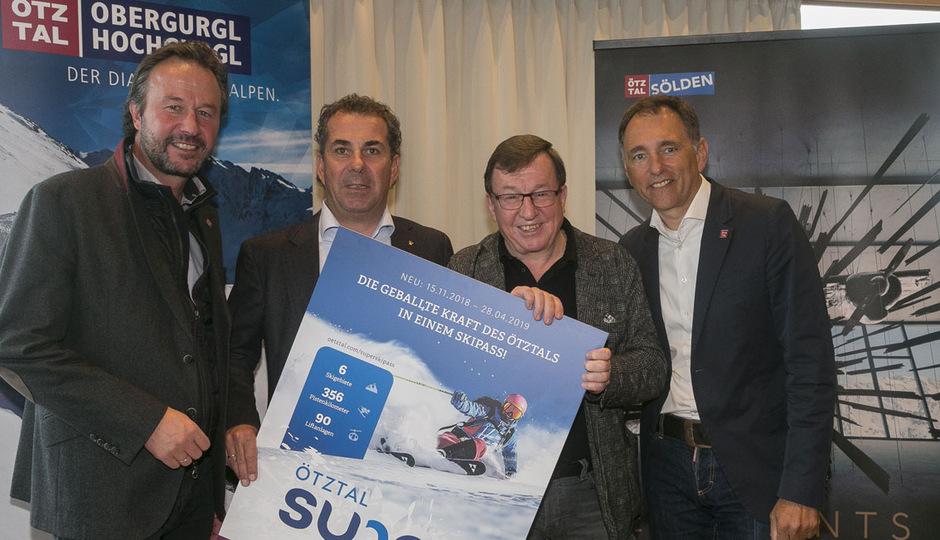 (v.l.n.r.) Lukas Scheiber (Marketingvorstand Ötztal Tourismus), Attila Scheiber (GF Liftgesellschaft Hochgurgl), Jakob Falkner (GF Bergbahnen Sölden) und Oliver Schwarz (Direktor Ötztal Tourismus).
