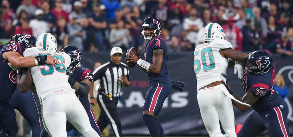 Gleich fünf Pässe von Houston-Quarterback Deshaun Watson führten zu Touchdowns.