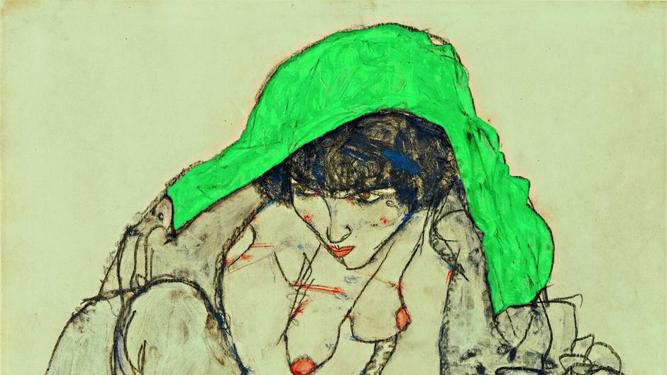 """""""Kauernde mit grünem Kopftuch"""" von Egon Schiele aus dem Jahr 1914."""