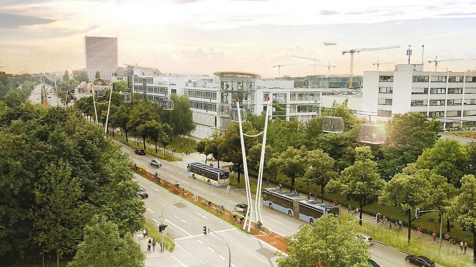 So könnte eine Seilbahn über der bayerischen Landeshauptstadt aussehen.