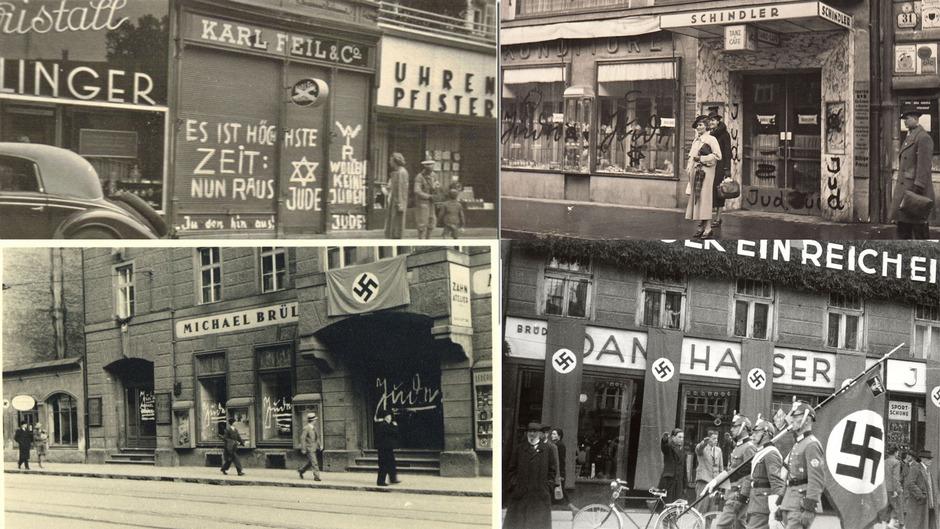 Innsbruck vor 80 Jahren. Das Straßenbild nach dem Novemberpogrom gibt Zeugnis ab über eine verbrecherische Geisteshaltung. Die Ausschreitungen gegen die jüdischen Mitbürger wurden in Innsbruck mit einer besonderen Perfidie geführt.
