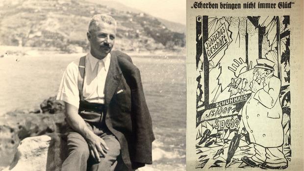 """Wilhelm Bauer wurde in der Pogromnacht ermordet. Wenige Tage später erschien in den """"Innsbrucker Nachrichten"""" diese zynische Karikatur."""