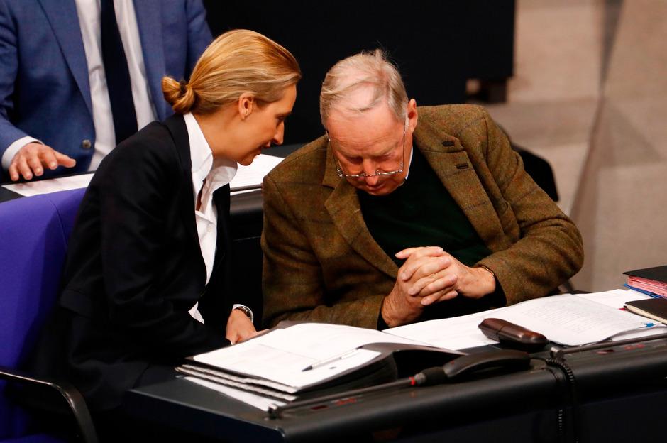 Alexander Gauland und Alice Weidel, Parteichefs der AfD, im deutschen Bundestag.