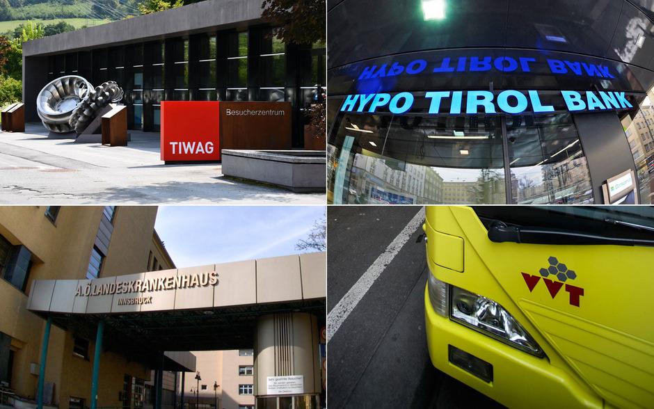 Die Tiwag, die Hypo Tirol Bank, die Tirol Kliniken und der Verkehrsverbund Tirol sind die größten 100-Prozent-Töchter des Landes.