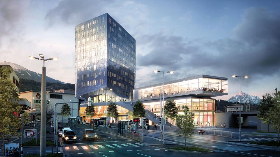 Die neue Innsbrucker Stadtbibliothek im Pema-2-Turm von außen.