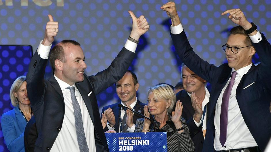 Manfred Weber (l.) erhielt deutlich mehr Stimmen als der Alexander Stubb (r.).