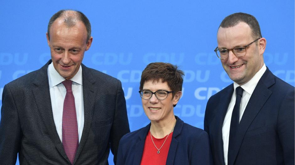 Die drei bekanntesten Bewerber um die Merkel-Nachfolge: Friedrich Merz, Annegret Kramp-Karrenbauer und Jens Spahn.
