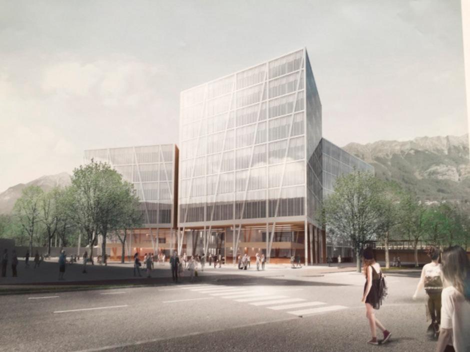 Der Siegerentwurf im Architekturwettbewerb für den Neubau des MCI am Fennerareal in Innsbruck. Um die Kosten tobt ein Streit.