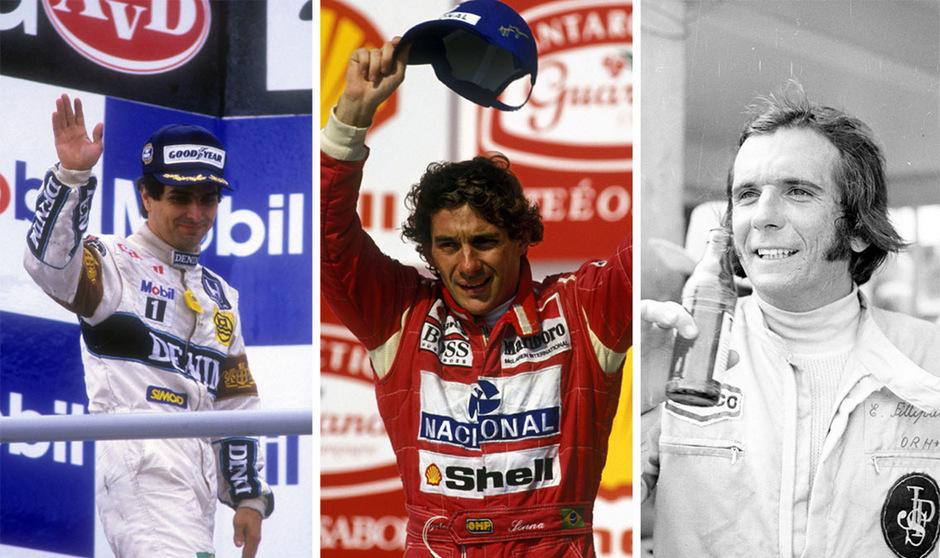 Nelson Piquet (1981, 1983, 1987), Ayrton Senna (1988, 1990, 1991) und Emerson Fittipaldi (1972, 1974) ließen die brasilianischen Motorsport-Herzen höher schlagen.