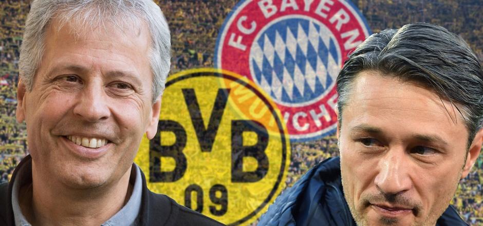 Auch ein Duell an der Seitenlinie: Lucien Favrte (l./Trainer Borussia Dortmund) gegen Niko Kovac (Trainer Bayern München).